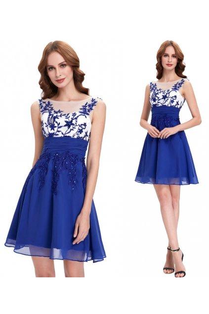 Modré koktejlové šaty s ozdobnou aplikací, 32 - 44