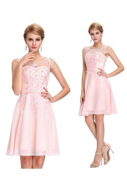 Růžové koktejlové šaty, SKLADEM