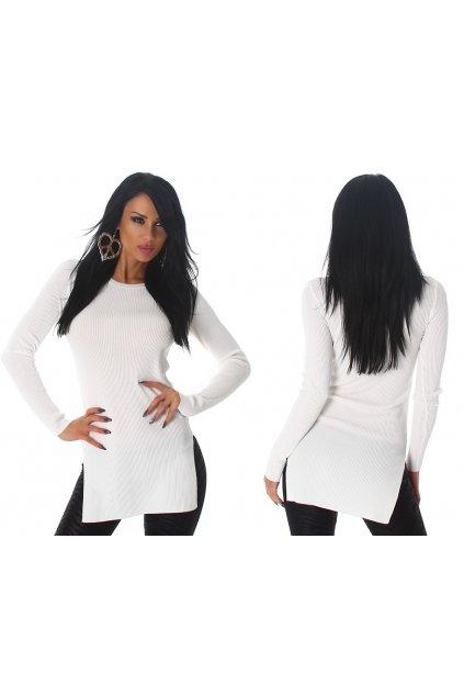 Bílý svetříkový top s rozparky