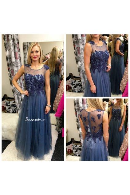 Tmavě modré společenské šaty Christine, k DODÁNÍ IHNED  NAHRANO