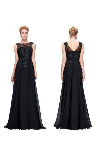 ČERNÉ společenské šaty Grace Karin s perličkami, SKLADEM