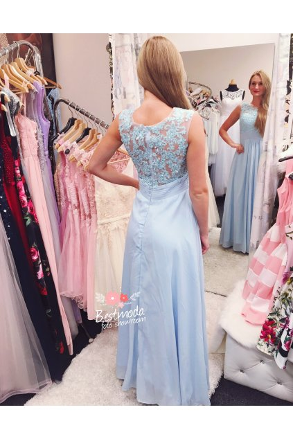Modré společenské šaty jemně zdobené, SKLADEM