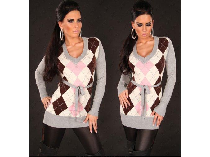 Kostkovaný svetr s páskem, k DODÁNÍ IHNED
