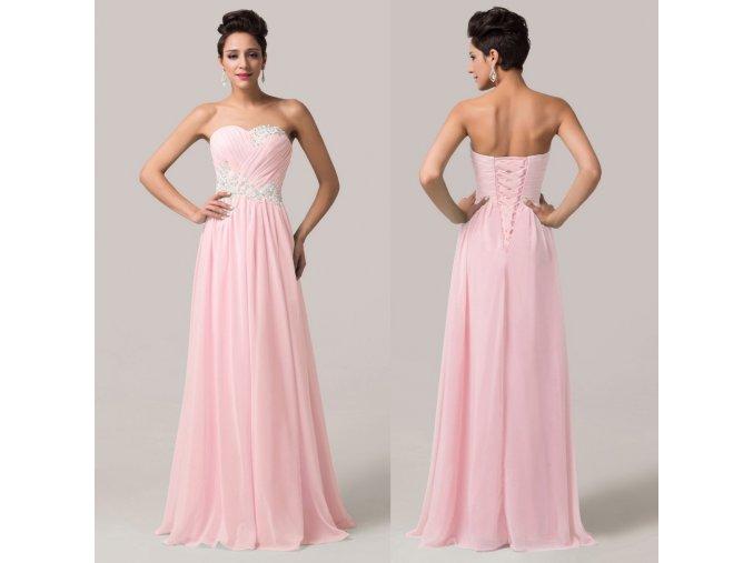 Světle růžové společenské šaty s aplikací, 32 - 44