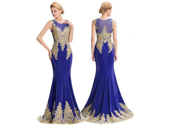 MODRÉ společenské šaty se zlatou aplikací, 32 - 44