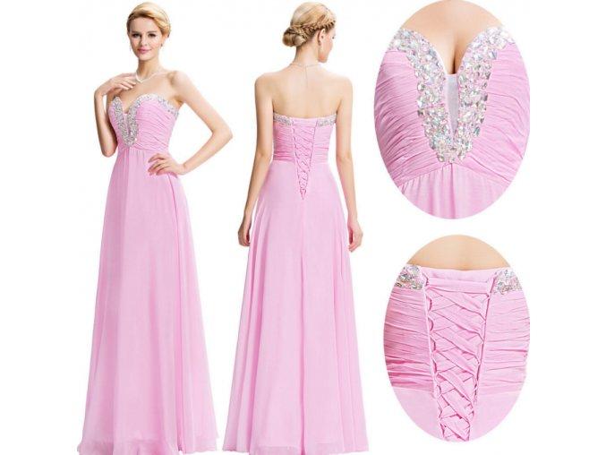 Světle růžové společenské šaty, 32 - 44