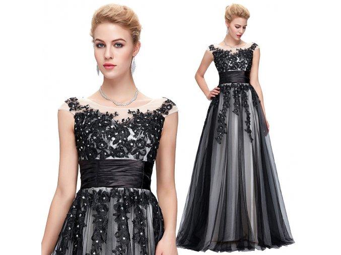 Společenské šaty s krajkovou aplikací, 32 - 44, RYCHLÉ DODÁNÍ