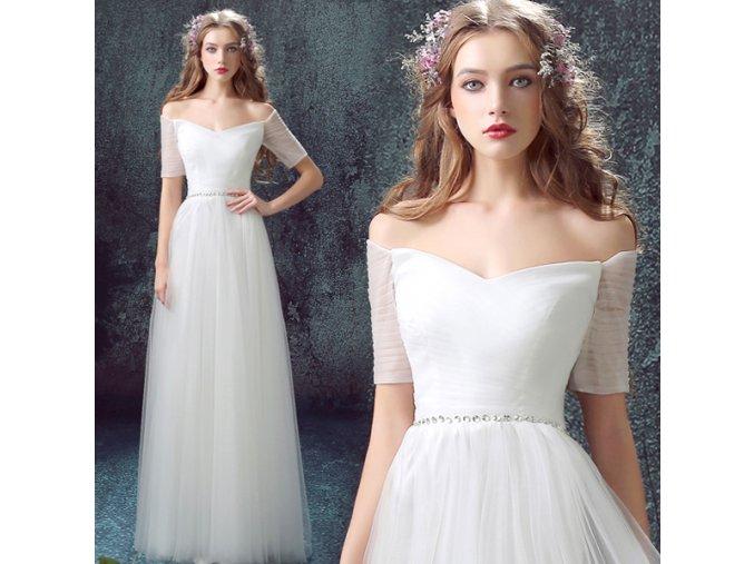 Bílé svatební šaty s decentním zdobením