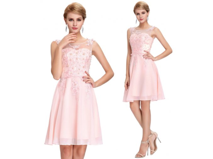 Růžové koktejlové šaty, 32 - 44, RYCHLÉ DODÁNÍ