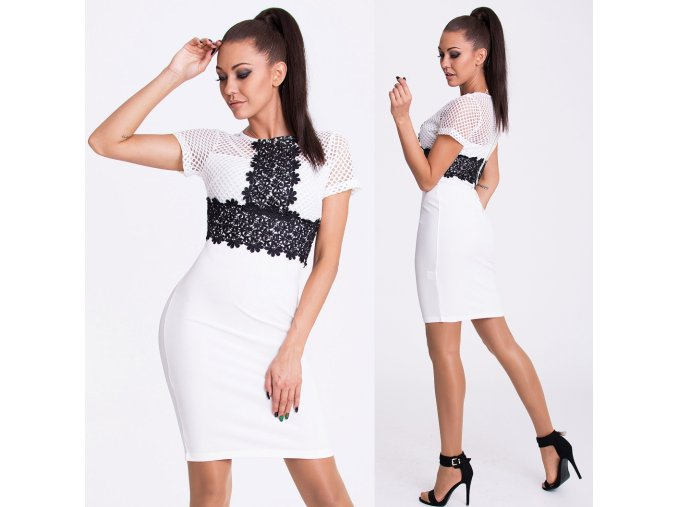 Bílo-černé šaty EMAMODA PARIS, RYCHLÉ DODÁNÍ