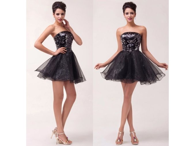 Černé třpytivé koktejlové šaty, SKLADEM