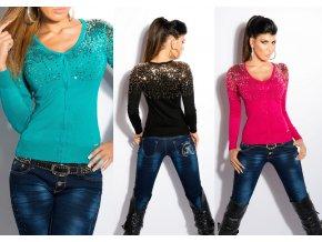 * 0000 Designerský svetřík zdobený glittery na knoflíčky, 12 barev, RYCHLÉ DODÁNÍ