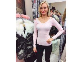 Růžový svetřík s decentním zdobením, SKLADEM