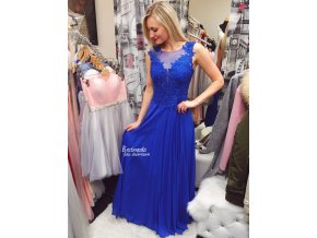 Královsky modré společenské šaty PARIS, SKLADEM