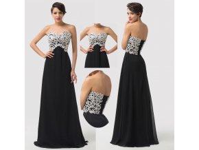 * 0000 Černé společenské šaty s bílou krajkou, 32 - 46