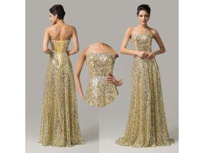 * 0000 LUXUSNÍ zlaté společenské šaty, 32, 34, 36, 38, 40, 42, 44, 46