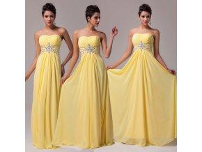 * 0000 Luxusní společenské šaty ve žluté barvě, 32,34,36,38,40,42,44,46