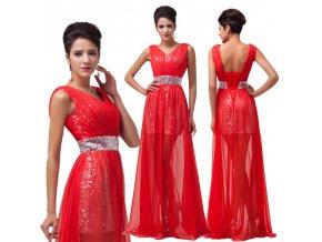 * 0000 Červené večerní šaty, k DODÁNÍ IHNED