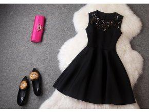 * 0000 Černé koktejlové šaty se zdobením, S, M, L, XL