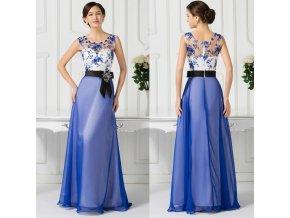 MODRO-BÍLÉ plesové šaty, 32 - 44