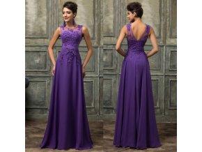 Zdobené fialové společenské šaty, 32 - 44