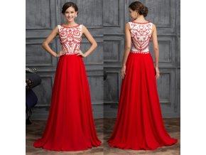 ČERVENO-BÍLÉ vyšívané plesové šaty, 32 - 44