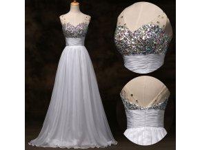 BÍLÉ společenské / svatební šaty s křišťálovými kameny, 32 - 44