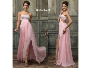Světle růžové společenské šaty s rozparkem, 32 - 44, k DODÁNÍ IHNED