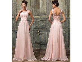 Jemně zdobené růžové společenské šaty, k DODÁNÍ IHNED