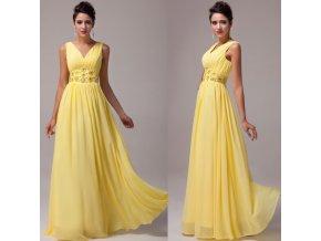 Žluté společenské šaty, velikosti 32 - 44, RYCHLÉ DODÁNÍ