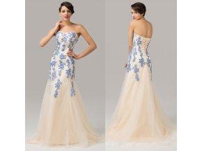 Dámské společenské šaty s modrou krajkou, 32 - 44