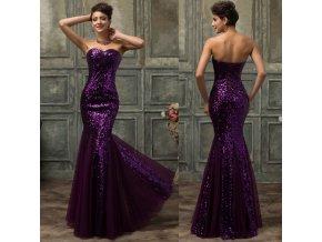 Luxusní fialové společenské šaty, velikosti 32 - 44