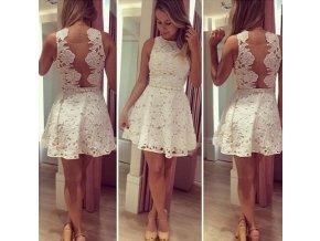 BÍLÉ krajkové šaty s páskem, S, M, L, XL - Bestmoda