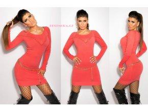 Designerské zdobené lososové šaty, RYCHLÉ DODÁNÍ