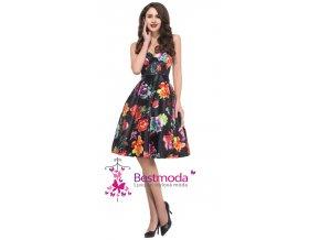 Společenské VINTAGE šaty s květy, 32 - 44