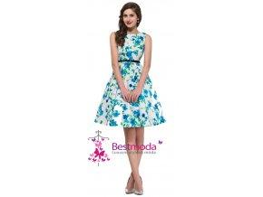 Společenské bílé šaty s květy, 32 - 44