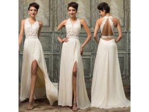 KRÉMOVÉ společenské šaty s krajkou, 32 - 44