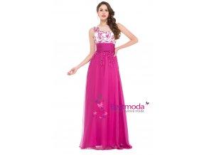 Růžové společenské šaty s efektní aplikací, velikosti 32 - 44