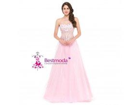 Nadýchané růžové plesové šaty, 32 - 44
