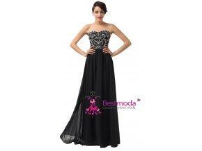 Černé plesové šaty se zdobeným korzetem, 32 - 44