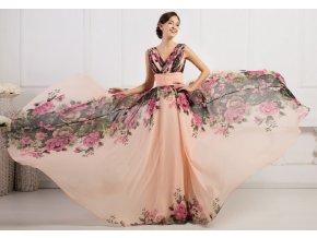 Květované společenské šaty, velikosti 32 - 44