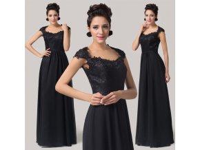 Černé společenské šaty s krajkou, velikosti 32 - 44