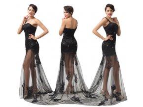 ČERNÉ společenské šaty s efektním průhledem, 32 - 44
