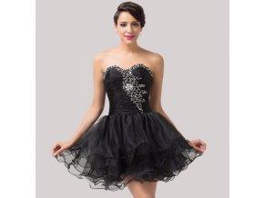 Černé nadýchané koktejlové šaty, 32 - 44