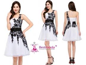 BÍLÉ koktejlové šaty zdobené černou krajkou, 32 - 44