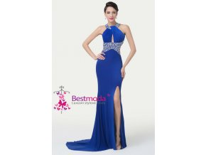 Modré společenské šaty otevřená záda, 32 - 42