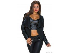 Černý kabátek s koženkovými rukávy, k dodání IHNED