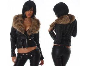 Černá koženková bunda s kožešinovým límcem, RYCHLÉ DODÁNÍ