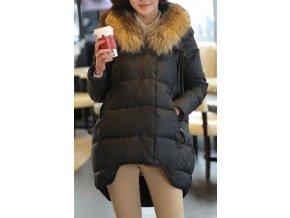 ČERNÁ zimní bunda s kožešinou, S - XL