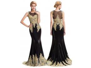 Černé společenské šaty se zlatou aplikací